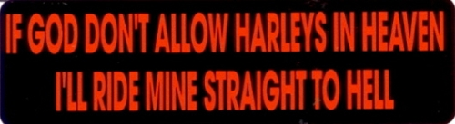 IF GOD DON'T ALLOW HARLEYS IN HEAVEN I'LL RIDE MINE STRAIGHT TO HELL HELMET STICKER