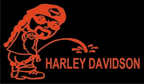 PISS ON HARLEY DAVIDSON HELMET STICKER