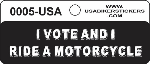 I VOTE AND I RIDE A MOTORCYCLE HELMET STICKER