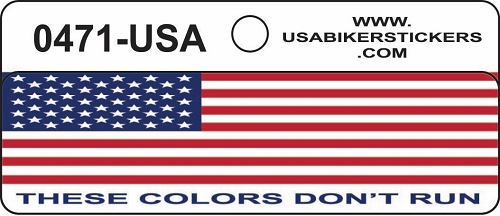 AMERICAN FLAG THESE COLORS DON'T RUN HELMET STICKER